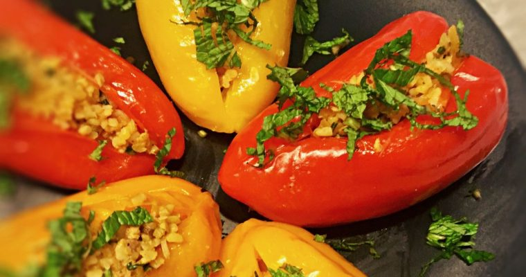 Stuffed Baby Peppers with Bulgur, Tuna, and Preserved Lemon