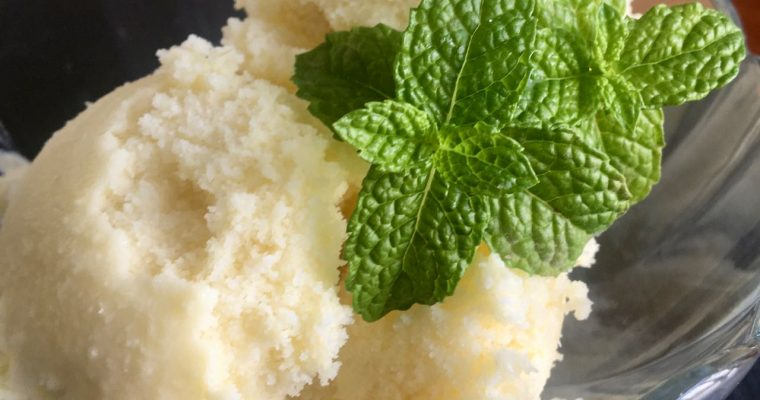 3 Ingredient, Sugar Free, No Churn, Vegan Piña Colada Sorbet | cookglobaleatlocal.com