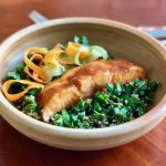 Miso Glazed Salmon Quinoa Bowls with Baby Spinach | cookglobaleatlocal.com
