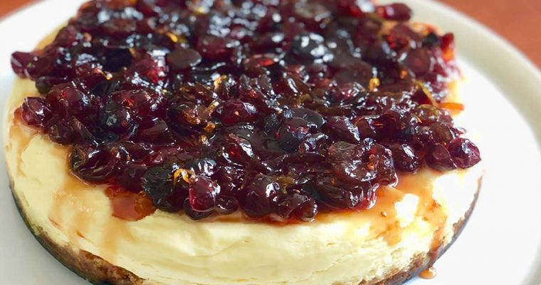 Instant Pot™ Ginger-Crusted Cranberry Orange Cheesecake | cookglobaleatlocal.com