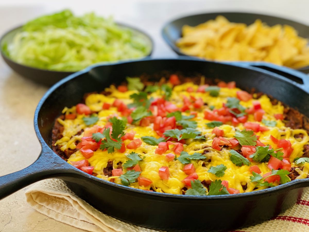 Spicy Refried Bean Taco Skillet