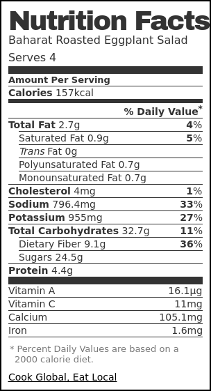 Nutrition label for Baharat Roasted Eggplant Salad