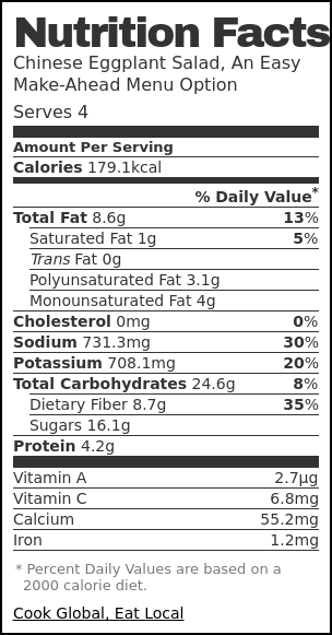 Nutrition label for Chinese Eggplant Salad, An Easy Make-Ahead Menu Option