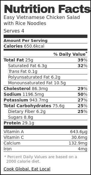 Nutrition label for Easy Vietnamese Chicken Salad with Rice Noodles