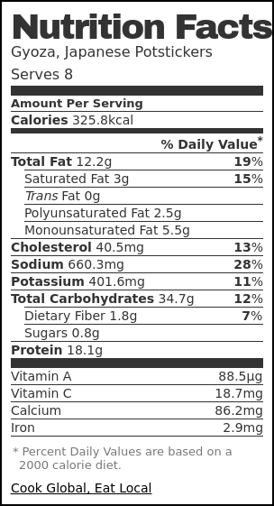 Nutrition label for Gyoza, Japanese Potstickers
