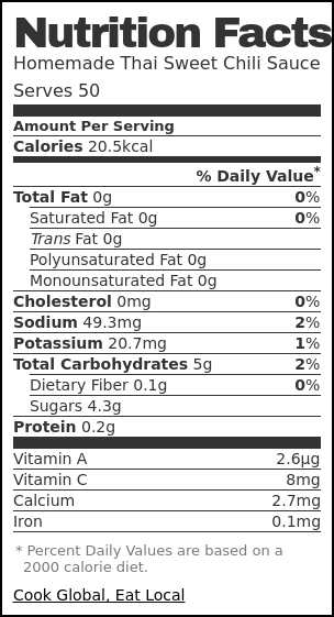 Nutrition label for Homemade Thai Sweet Chili Sauce