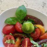 Quick Heirloom Tomato & Basil Salad