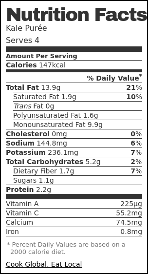 Nutrition label for Kale Purée