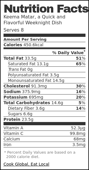 Nutrition label for Keema Matar, a Quick and Flavorful Weeknight Dish
