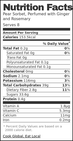 Nutrition label for Pear Sorbet, Perfumed with Ginger and Rosemary