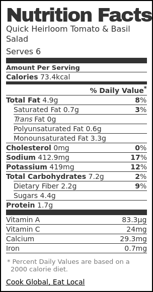 Nutrition label for Quick Heirloom Tomato & Basil Salad