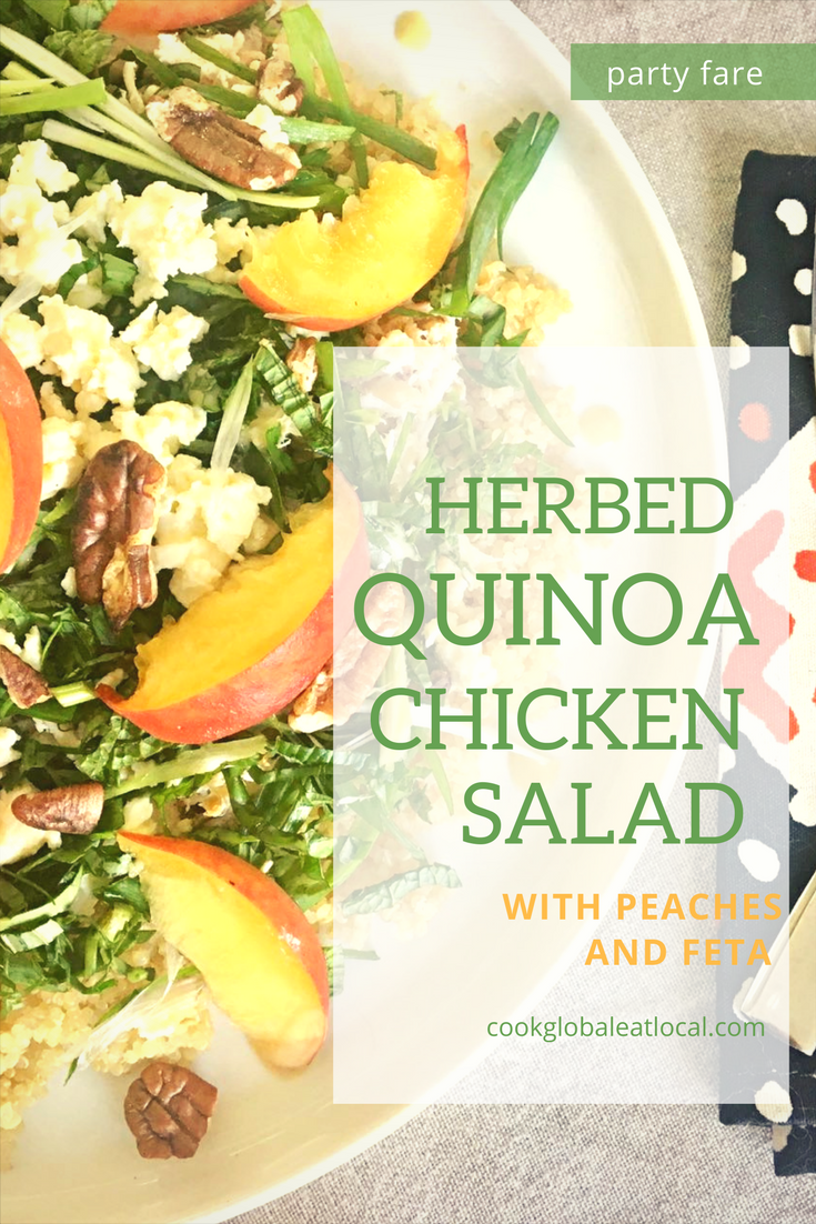 Herbed Chicken Quinoa Salad with Peaches and Feta | cookglobaleatlocal.com