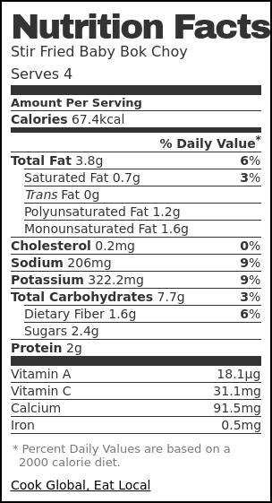 Nutrition label for Stir Fried Baby Bok Choy