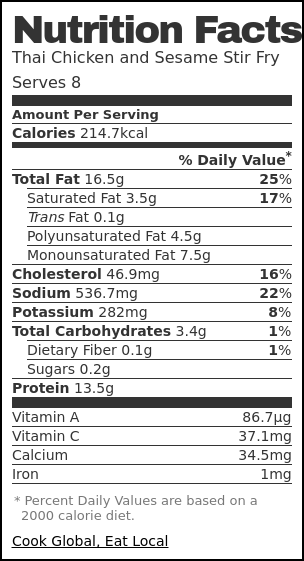 Nutrition label for Thai Chicken and Sesame Stir Fry