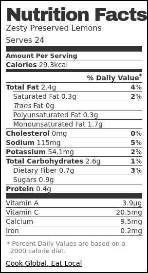 Nutrition label for Zesty Preserved Lemons