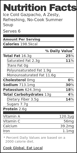 Nutrition label for Ice Cold Gazpacho, A Zesty, Refreshing, No-Cook Summer Soup