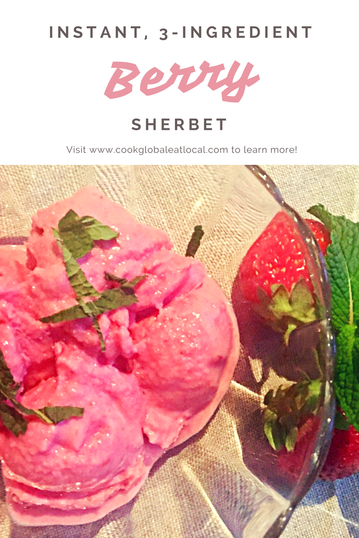 Instant, No-Churn, 3-Ingredient Strawberry Sherbet | cookglobaleatlocal.com