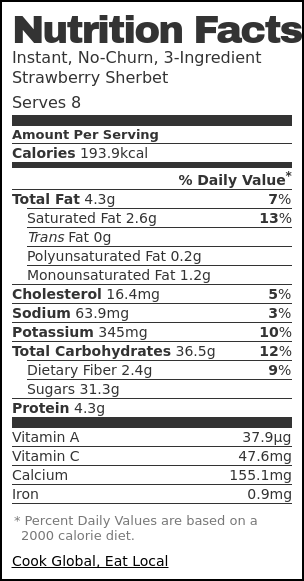 Nutrition label for Instant, No-Churn, 3-Ingredient Strawberry Sherbet