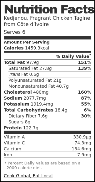 Nutrition label for Kedjenou, Fragrant Chicken Tagine from Côte d'Ivoire