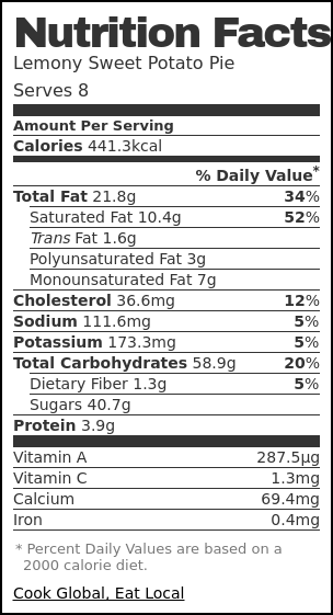 Nutrition label for Lemony Sweet Potato Pie