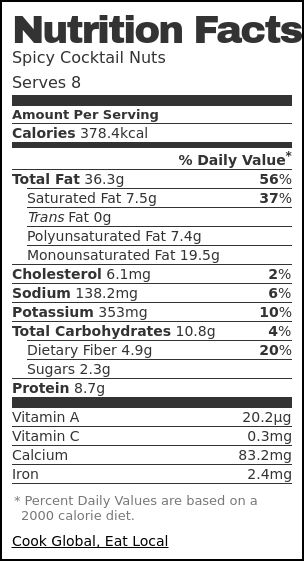 Nutrition label for Spicy Cocktail Nuts