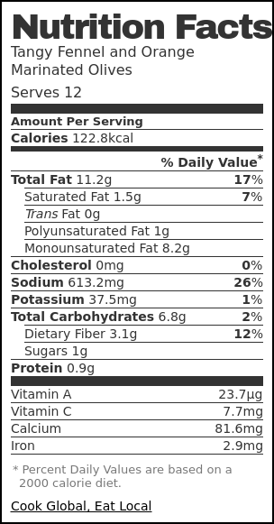 Nutrition label for Tangy Fennel and Orange Marinated Olives