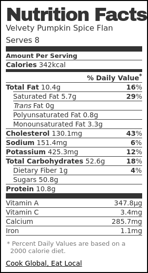 Nutrition label for Velvety Pumpkin Spice Flan
