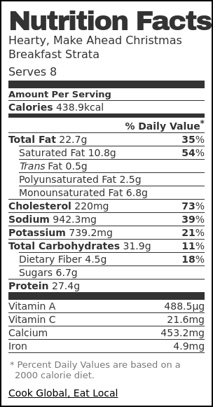 Nutrition label for Hearty, Make Ahead Christmas Breakfast Strata