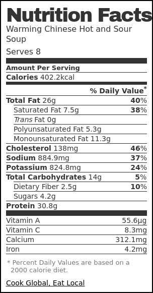 Nutrition label for Warming Chinese Hot and Sour Soup