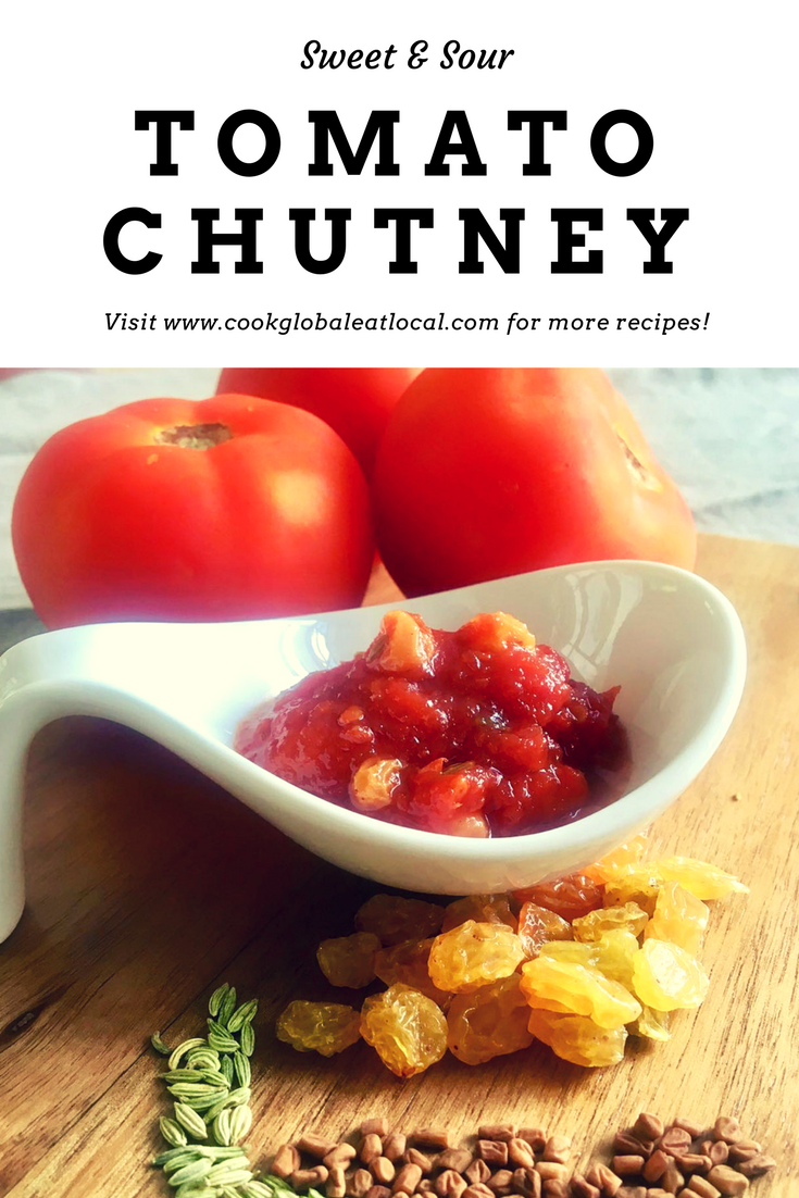 Anglo-Indian Sweet and Sour Tomato Chutney | cookglobaleatlocal.com