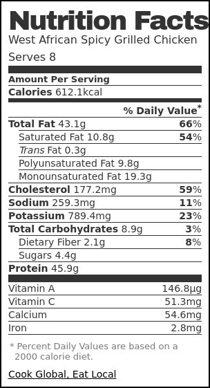 Nutrition label for West African Spicy Grilled Chicken