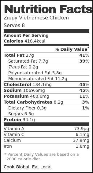Nutrition label for Zippy Vietnamese Chicken