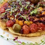 Caramelized Tomato, Bacon and Olive Tarte Tatin | cookglobaleatlocal.com