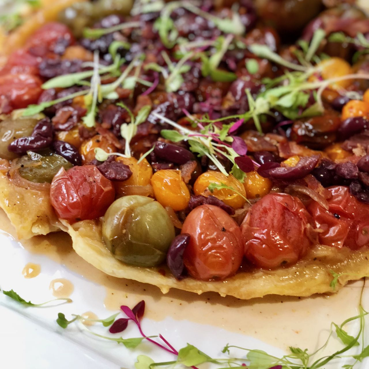 Caramelised Tomato, Bacon and Olive Tarte Tatin