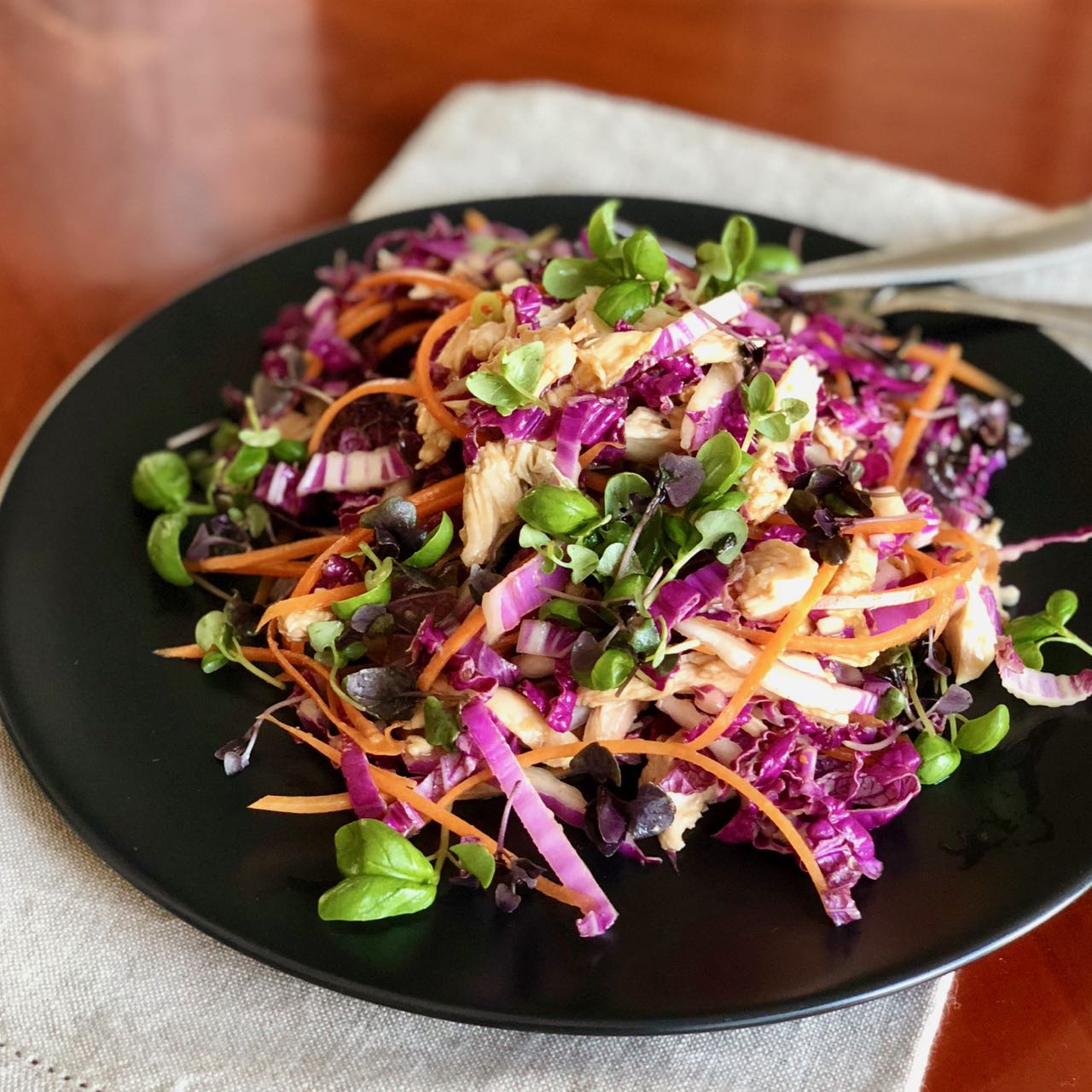 Asian Chicken Salad with Honey Miso Dressing | cookglobaleatlocal.com
