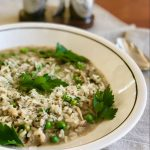 Instant Pot™ Wild Mushroom and Spring Pea Risotto | cookglobaleatlocal.com
