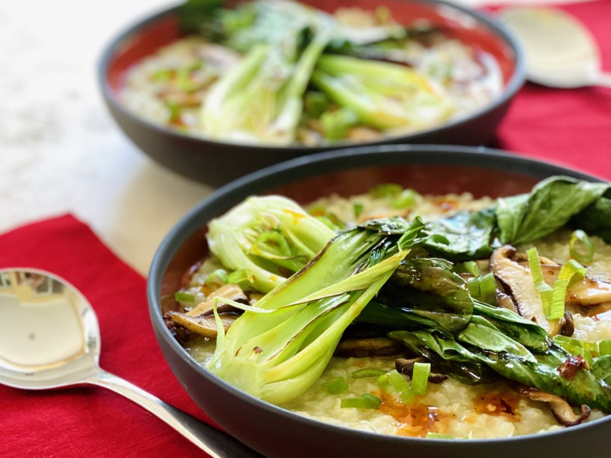 Instant Pot™ Congee with Baby Bok Choy and Shiitake Mushrooms