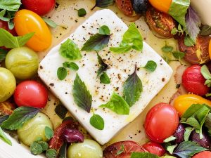 Warm Dairy-Free Greek Cheese with Tomatoes, Olives, & Herbs | cookglobaleatlocal.com