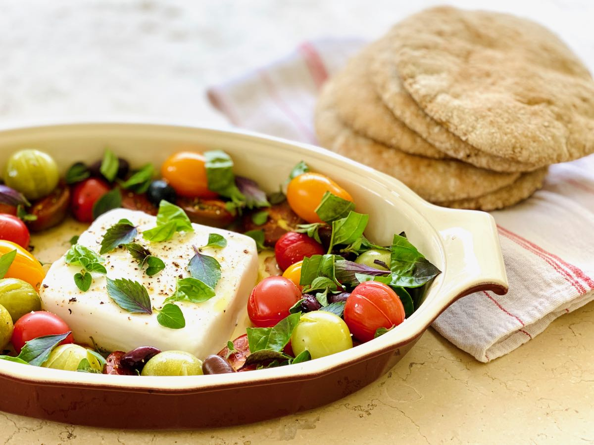 Warm Dairy-Free Greek Cheese with Tomatoes, Olives, & Herbs