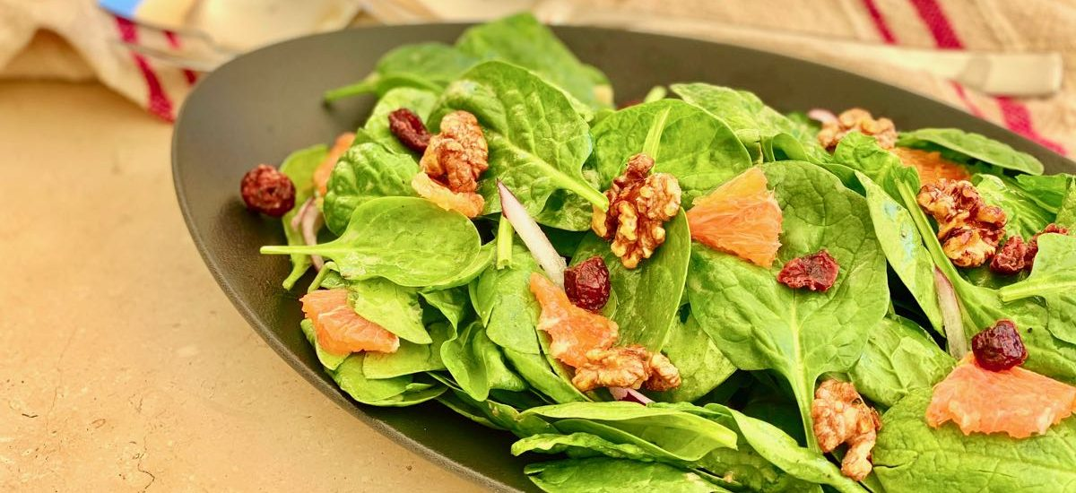 Cranberry Orange Spinach Salad with Candied Walnuts